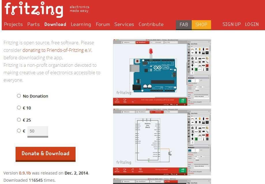 Fritzing devre tasarım programı