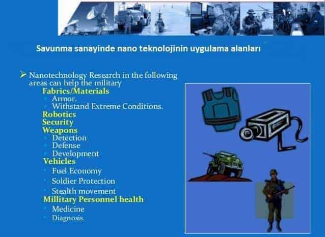 Savunma sanayinde nano teknolojinin uygulama alanları