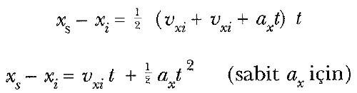 sabit ivmeli hareket formülleri kullanımı