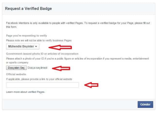 facebook sayfa onaylatma