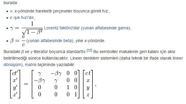 Lorentz dönüşümü formulü nedir