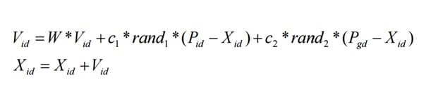 Parçacık Sürü Optimizasyonu formülü