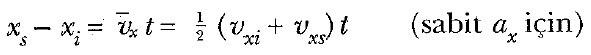sabit ivmeli hareket formülleri