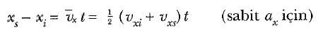 sabit ivmeli hareket formülü