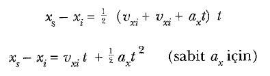 tek boyutta sabit ivmeli hareket formül