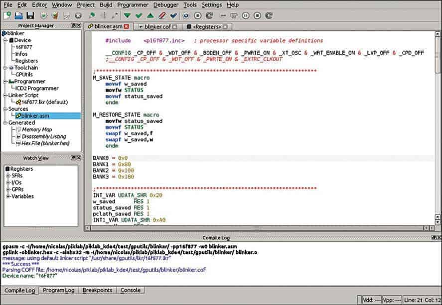 Piklab Source code editor