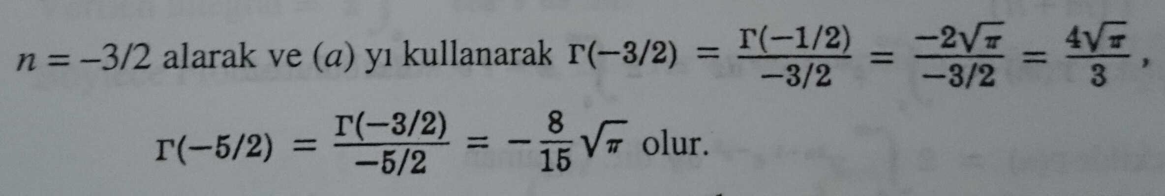 gamma fonksiyonu ve değeri