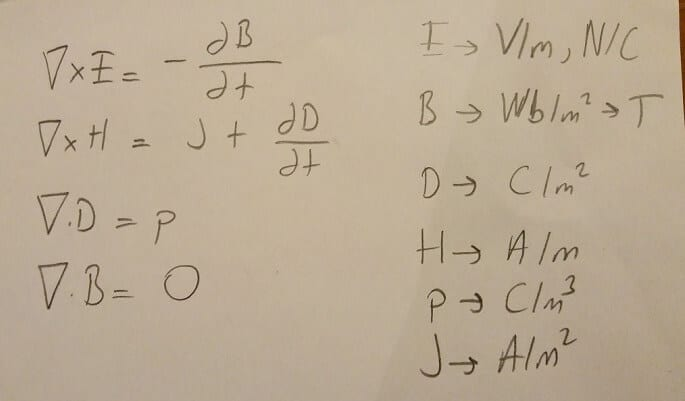 maxwell denklemleri formülleri