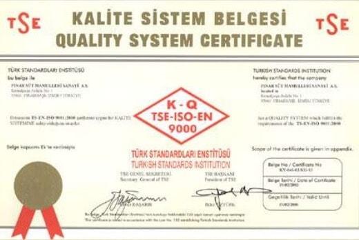 Kalite Yönetim Sistem Belgesi