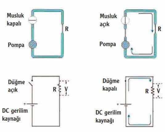 Su pompas› ve DC devrelerinin benzerli¤i