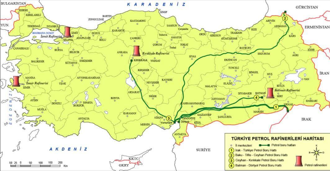 Türkiye Petrol Rafinerileri Haritası