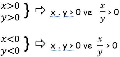 Aynı işaretli iki sayının çarpımı