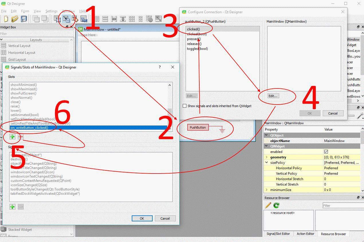 Qt Designer Sinyal ve Slot